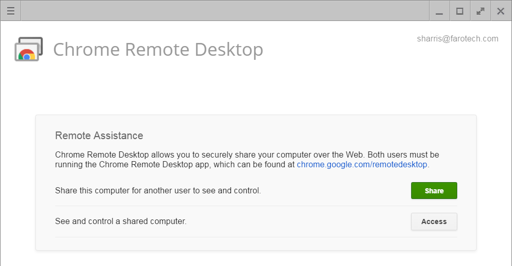 Chrome Remote Desktop Extension