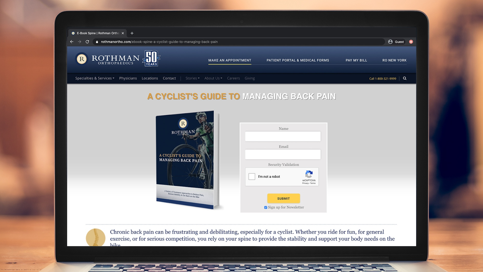 Rothman Website with an ebook on the screen.