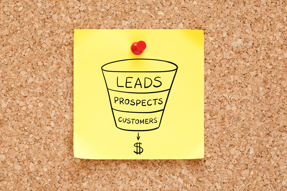 "A sticky note on a corkboard displays a sales funnel drawing labeled ""leads, prospects, and customers,"" with a dollar sign."