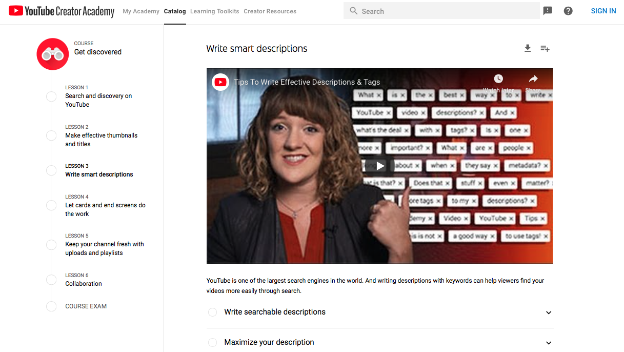 A screen from YouTube's Creator Academy shows videos aiding marketers in setting up optimized descriptions, tags, etc.