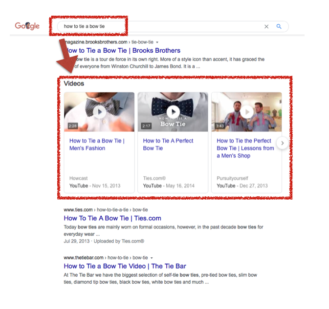 """A screenshot of a Google search result shows that the keyword """"how to tie a bow tie"""" yields three video results."""