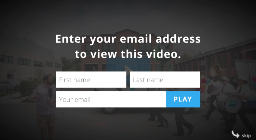 An opt-in screen shows where video viewers would enter their name and email to be able to continue watching.