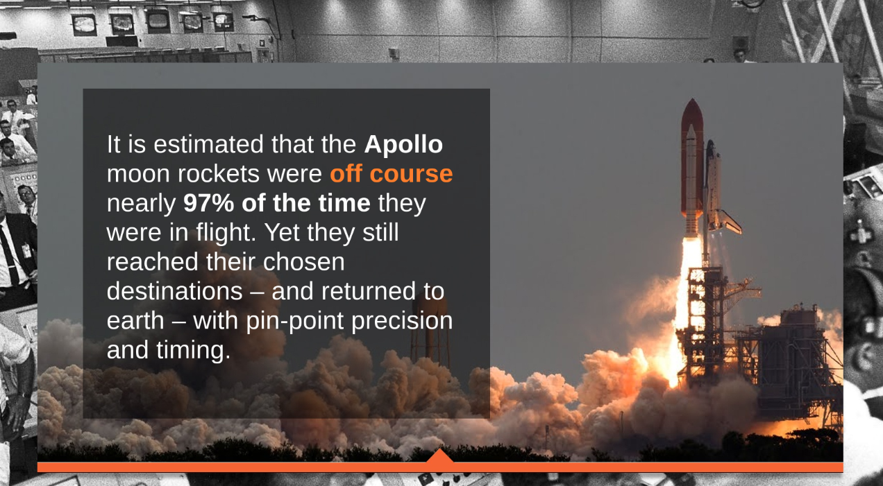An image of the Apollo Rocket appears next to text explaining that constant course corrections were made along its journey.