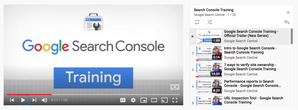 A screenshot displays a YouTube screen with Google Search Console channel playing through training videos.