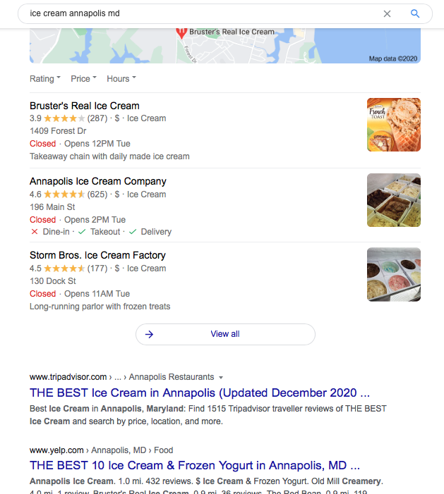 A local query opens a pin pack of Google search results for various ice cream shops in Annapolis, Maryland.