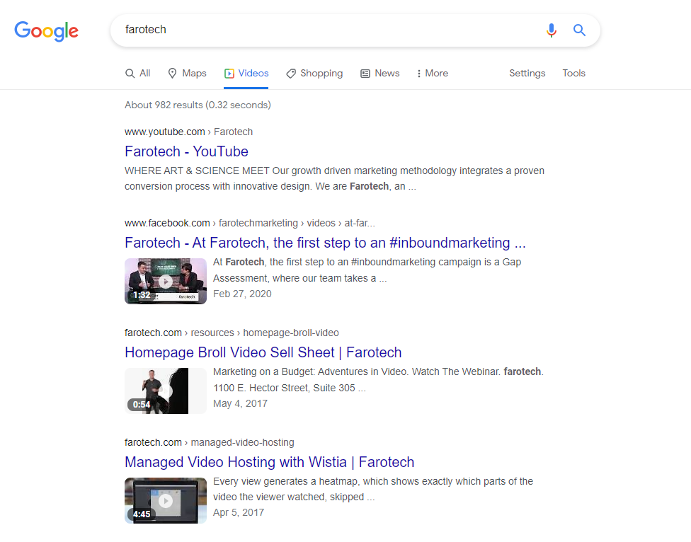 """Screenshot of Google SERP for searching """"Farotech."""" Shows different Farotech videos that appear."""